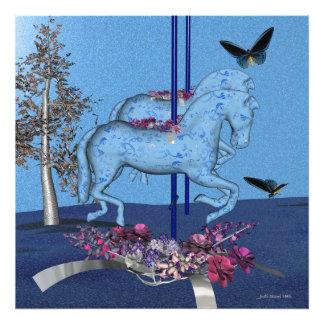 Cavalos azuis do carrossel impressão de foto