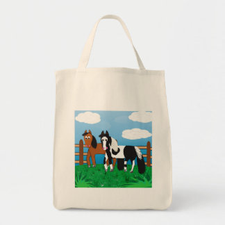 Cavalos bonitos dos desenhos animados sacola tote de mercado