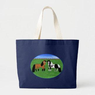 Cavalos bonitos dos desenhos animados bolsa tote grande