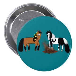 Cavalos bonitos dos desenhos animados que jogam na bóton redondo 7.62cm
