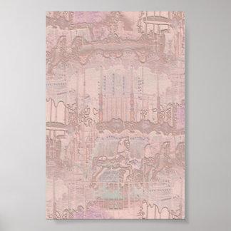 Cavalos cor-de-rosa do carrossel poster