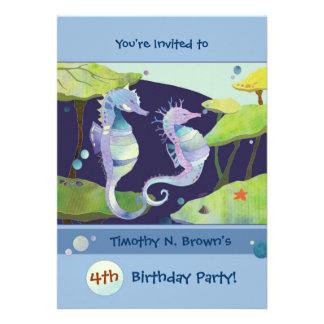 Cavalos de mar Convites da festa na piscina do an