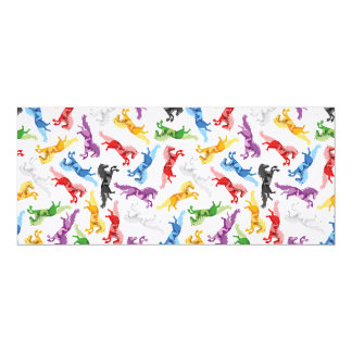 Cavalos de salto coloridos do teste padrão convite 10.16 x 23.49cm