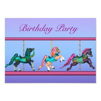 Cavalos do carrossel cor-de-rosa & festa de convite 12.7 x 17.78cm