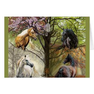 Cavalos do cartão de cartões de natal de quatro