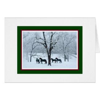 Cavalos do frisão no cartão de Natal da neve
