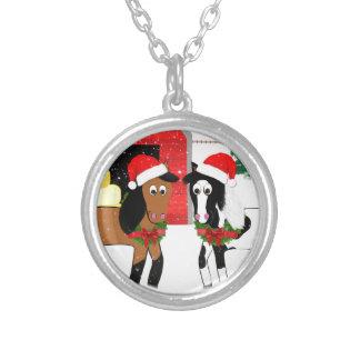 Cavalos do Natal Colar Banhado A Prata