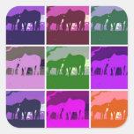 Cavalos do pop art adesivo em forma quadrada