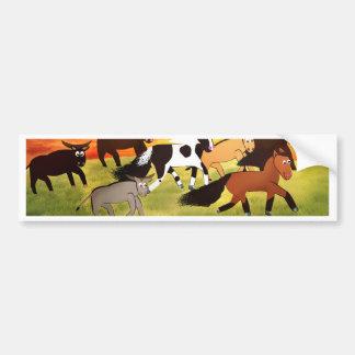 Cavalos dos desenhos animados que funcionam com adesivo para carro