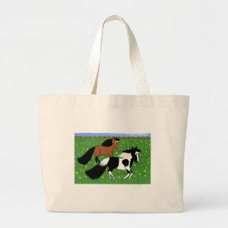 Cavalos dos desenhos animados que funcionam no bolsa tote grande