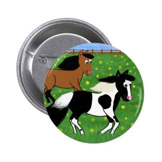 Cavalos dos desenhos animados que funcionam no bóton redondo 5.08cm