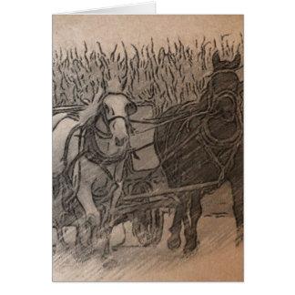 Cavalos e arte de Digitas do vagão, aniversário Cartão De Nota