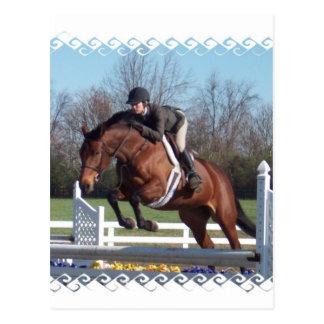 Cavalos e cartão de salto da mostra cartão postal