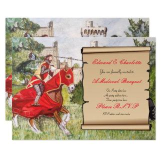 Cavalos Jousting do convite medieval do banquete