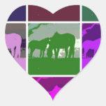 Cavalos multicoloridos do pop art adesivo de coração