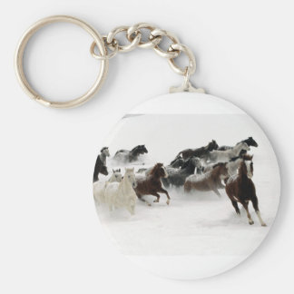 Cavalos na neve chaveiro