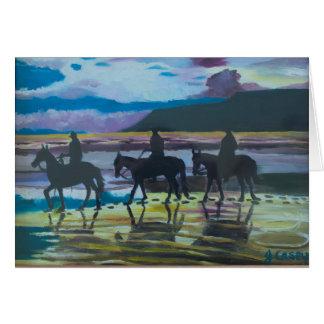 Cavalos na praia de Waterfoot, cartão de Antrim do