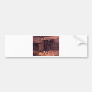 Cavalos no estábulo por Gustave Caillebotte Adesivo Para Carro