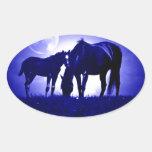 Cavalos & noite azul adesivos em formato ovais