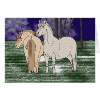 Cavalos noruegueses do fiorde cartão comemorativo