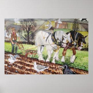 Cavalos pesados que Ploughing em março Poster