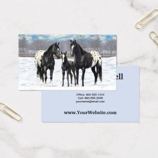 Cavalos pretos do Appaloosa na neve Cartão De Visitas