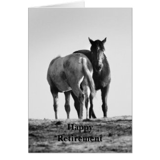 Cavalos que pastam o cartão feliz da aposentadoria