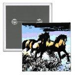 Cavalos Running do pop art Boton