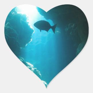 Caverna e peixes azuis claros adesivo coração