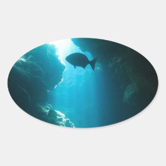Caverna e peixes azuis claros adesivo oval