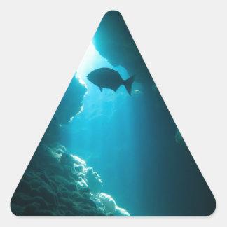 Caverna e peixes azuis claros adesivo triangular