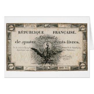 Cédula de Assignat da Revolução Francesa de 400 Li Cartão