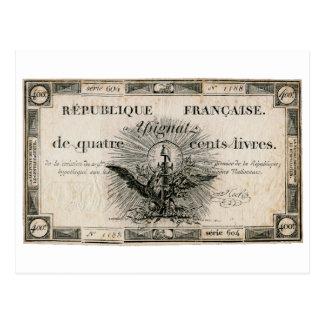 Cédula de Assignat da Revolução Francesa de 400 Li Cartao Postal