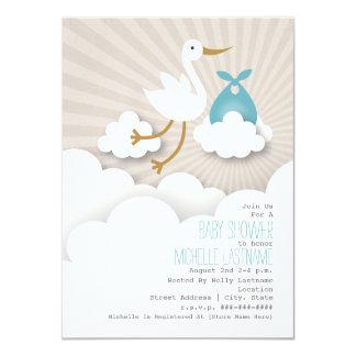 Cegonha + Chá de fraldas das nuvens - azul Convite 11.30 X 15.87cm