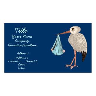 Cegonha clássica (azul) (chá de fraldas) cartão de visita