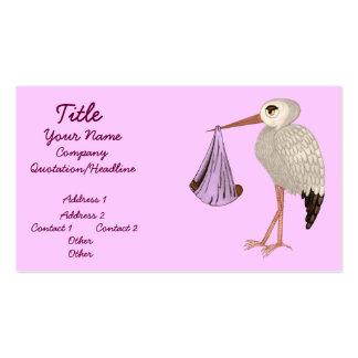 Cegonha clássica (rosa) 2 (chá de fraldas) cartão de visita