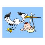 Cegonha com bebê cartão postal