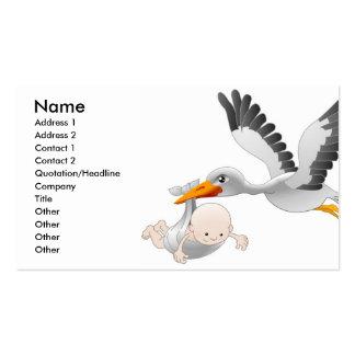 Cegonha e cartão de visita do bebê