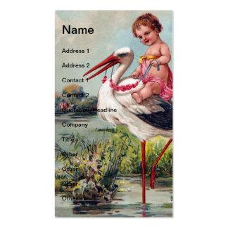 Cegonha e criança do vintage cartão de visita
