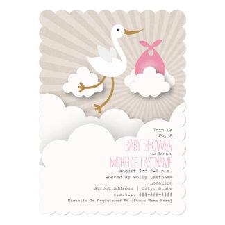 Cegonha no chá de fraldas das nuvens - rosa convite 12.7 x 17.78cm