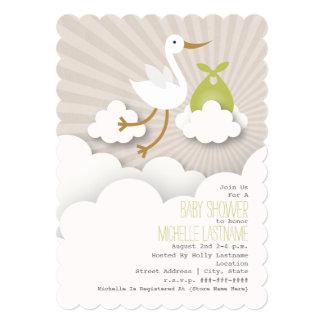 Cegonha no chá de fraldas das nuvens - verde convite 12.7 x 17.78cm