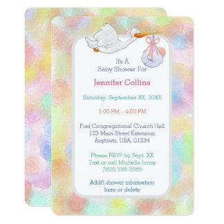 Cegonha Pastel das aguarelas com chá de fraldas do Convite 12.7 X 17.78cm