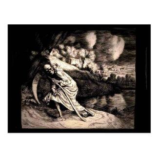 Ceifador no cartão preto