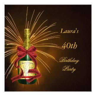 Celebração Champagne da festa de aniversário de Ch Convites Personalizados
