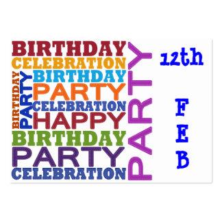 celebração da festa de aniversário cartão de visita grande