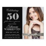 Celebração do aniversário da foto elegante 50th convite personalizados