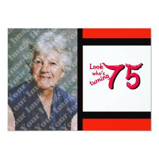 Celebração do aniversário da letra vermelha da convite 12.7 x 17.78cm