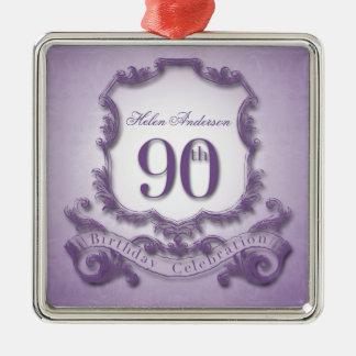 celebração do aniversário do 90 personalizada ornamento quadrado cor prata