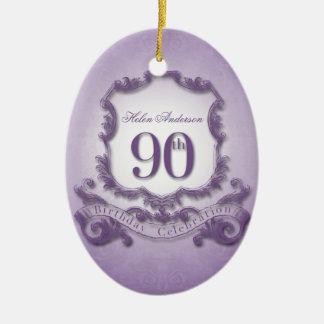 celebração do aniversário do 90 personalizada ornamento de cerâmica oval