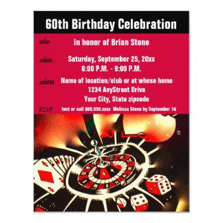 Celebração do aniversário do tema do casino 60th convite 10.79 x 13.97cm